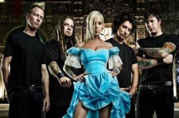 In This Moment Maria Brink in blue dress